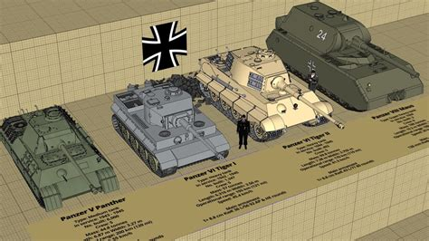 WW2 German Tank Type and Size Comparison 3D - YouTube