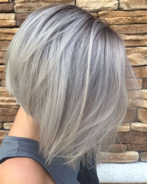 Silver grey hair in a concave bob (With images)   Účesy